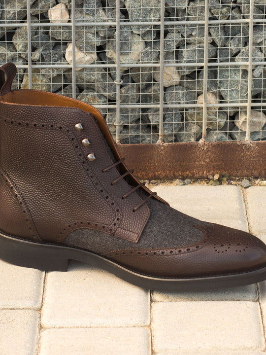 Militia Brogue Dark Grey and Brown Boot