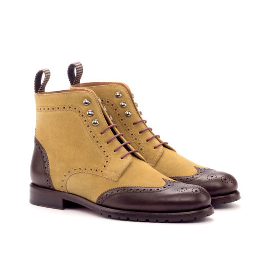 Commando Tweed Sartorial with Brown Calf Leather and Camel Suede Women's Military Brogue Boot