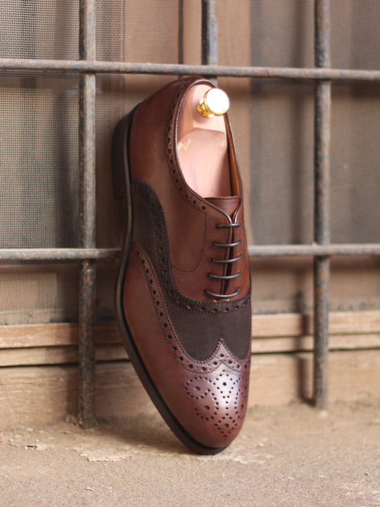 Ego Brown Suede and Brown Painted Calf Leater Full Brogue Shoe