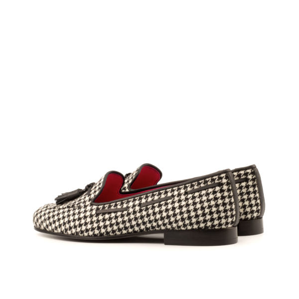 Elle's Women's Loafer in Black Leather and Houndstooth Sartorial