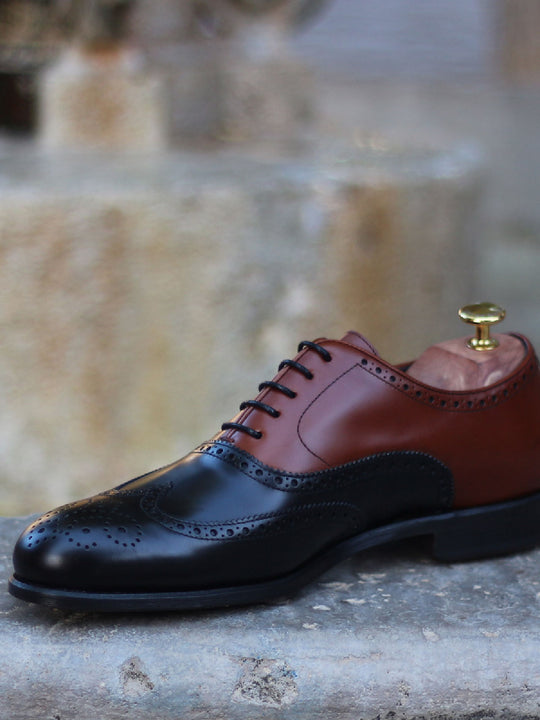 Florence Day Cognac and Black Calf Leather Full Brogue Shoe