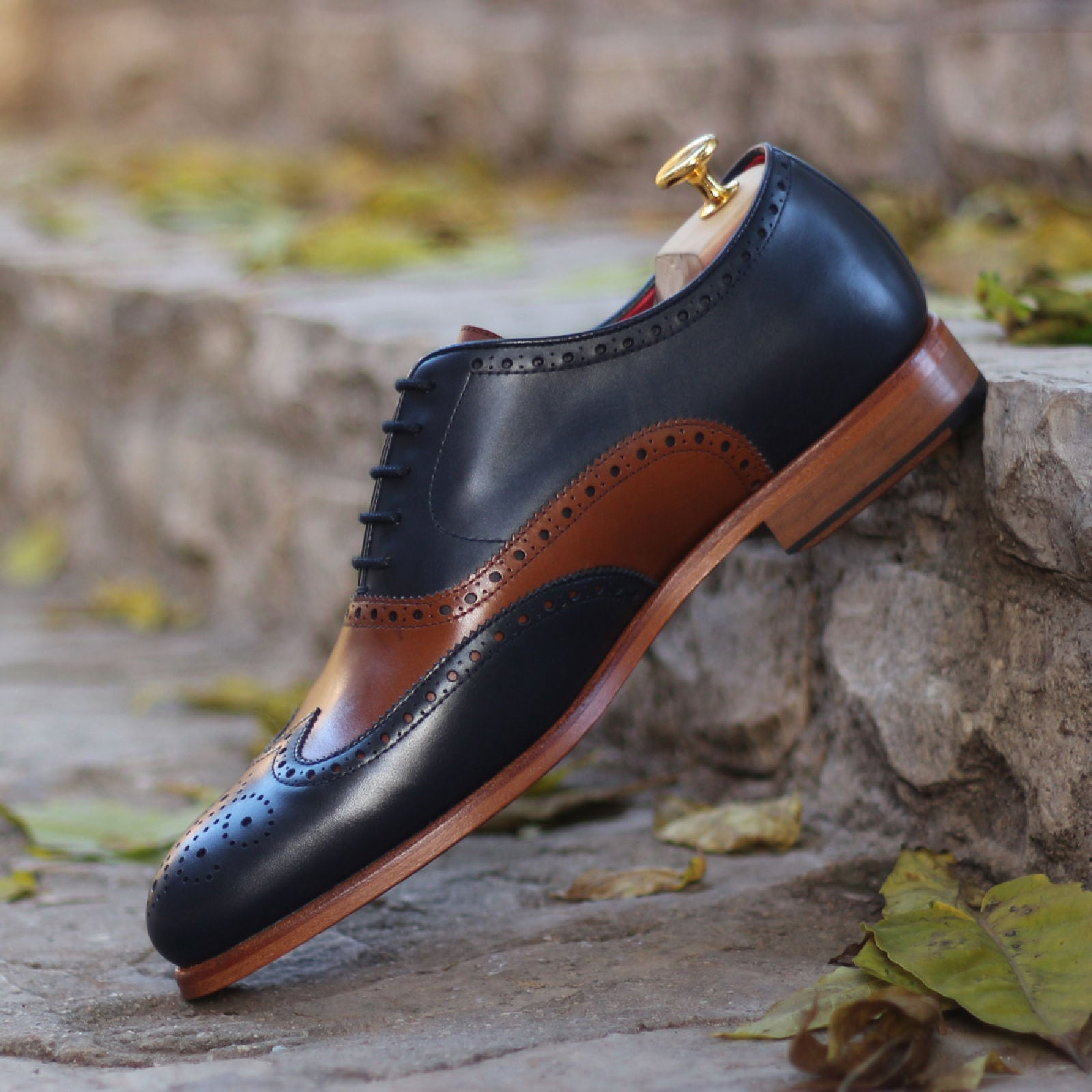 Middle Navy and Cognac Box Calf leather Full Brogue Shoe