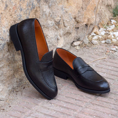 Pepper Black Pebble Grain Leather Loafer