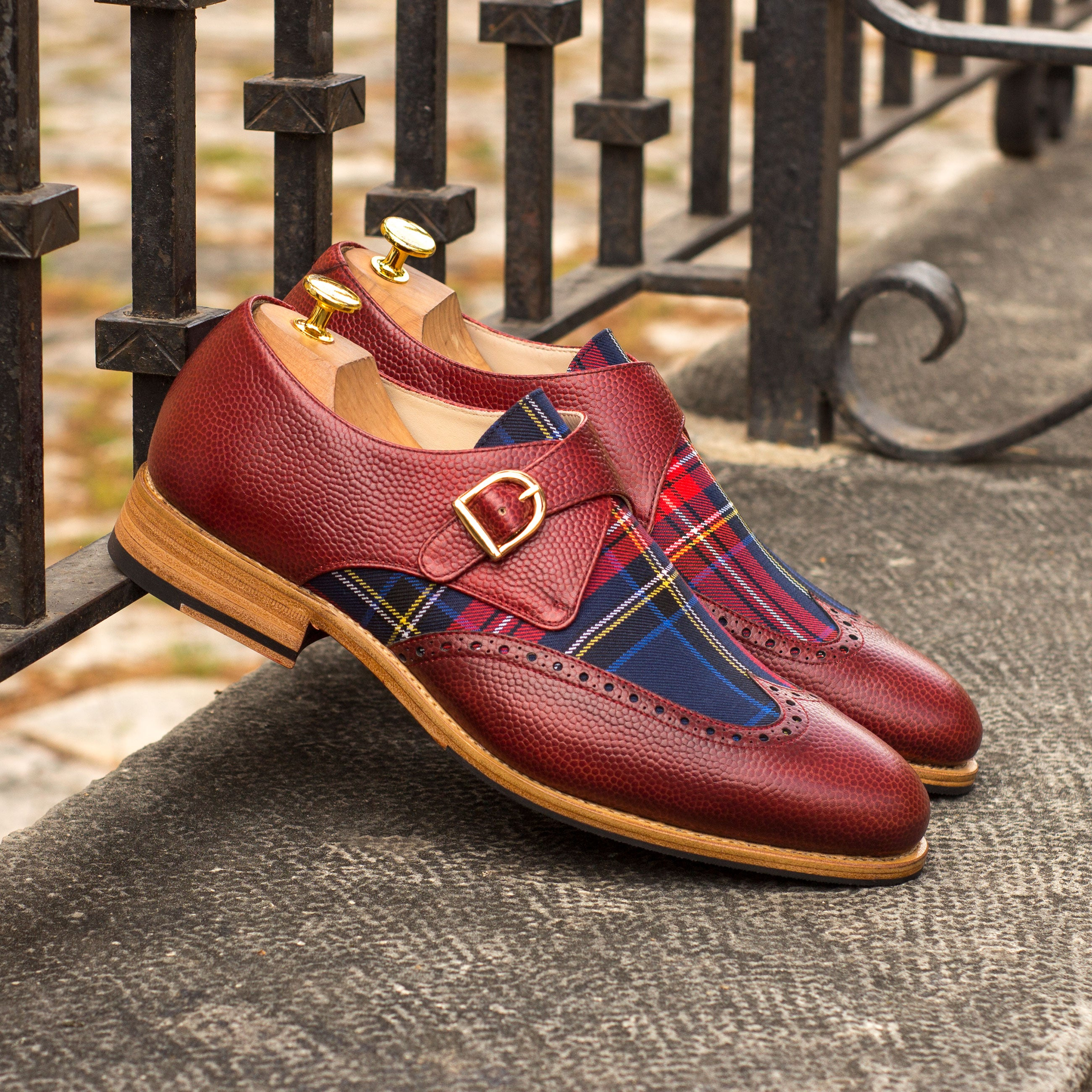 Single Monk Strap Red Pebble Grain Shoe