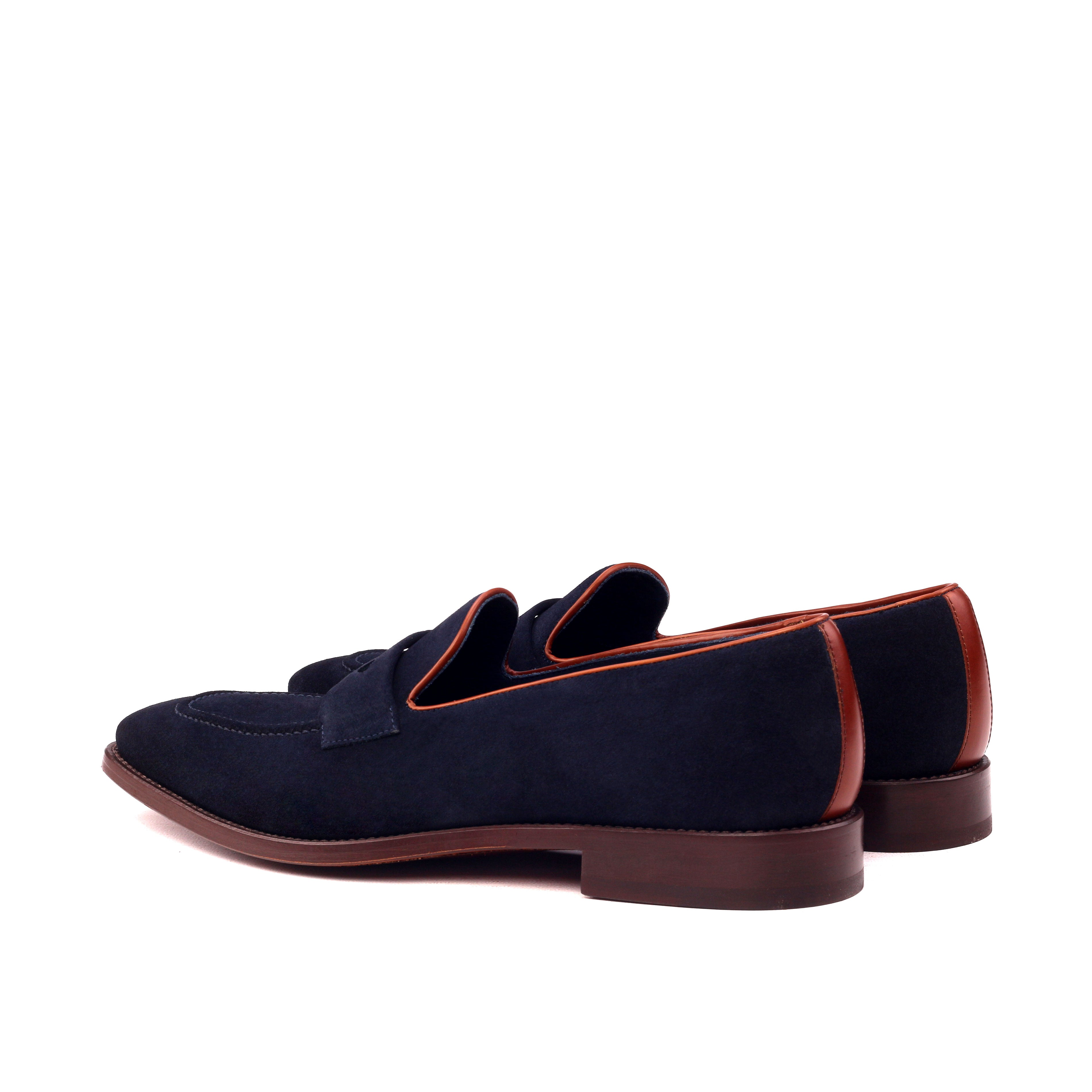 Tucker Navy Suede and Cognac Leather Loafer