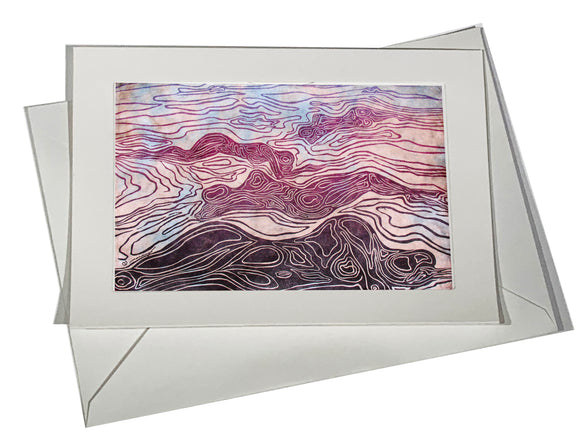 Art Card Bodyscapes I Blue Pink Surreal Topo Map Human Figures Landscape