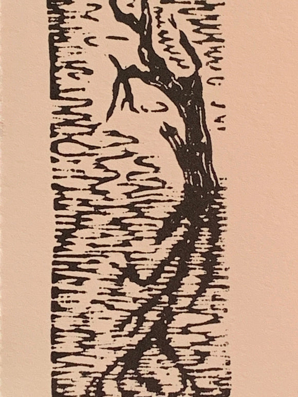 Water Tree Reflection serene lake original woodcut small print from Water in the Desert Landscape Collection