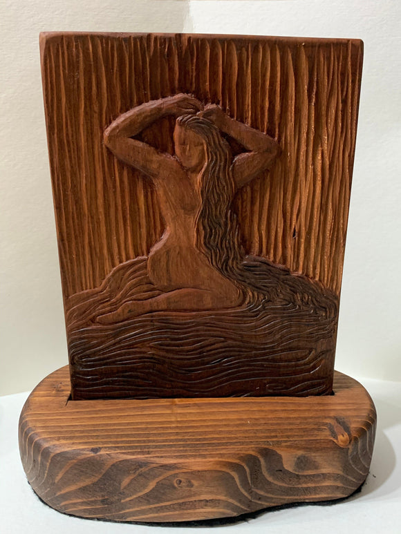 In the Shallows Classic Beauty Original Hand-carved Cherry Relief Woodblock Female Nude Bather Unique Figure