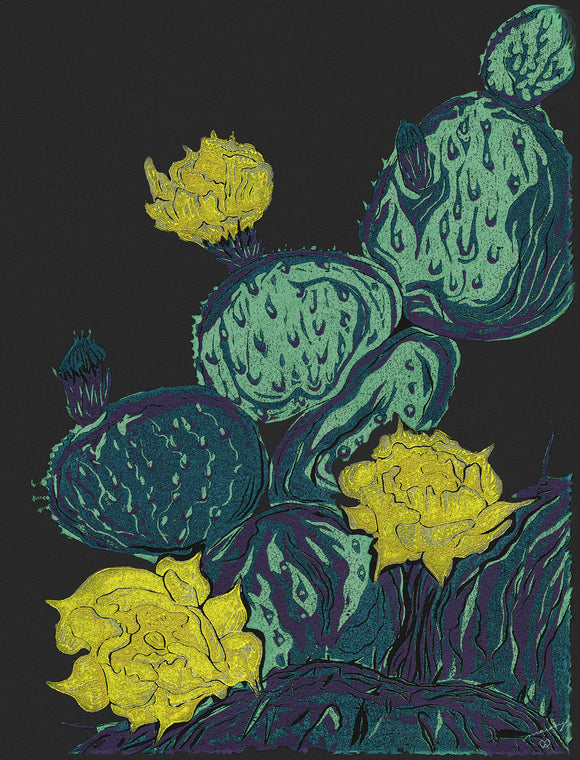 Desert Blooms Color Fine Art Print Southwest Bright Prickly Pear Cactus Flowers