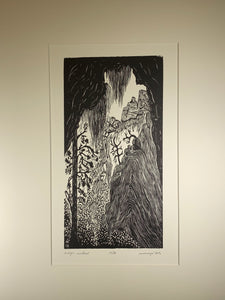 Original Art Magic Window Woodcut Print Zion National Park southwest landscape
