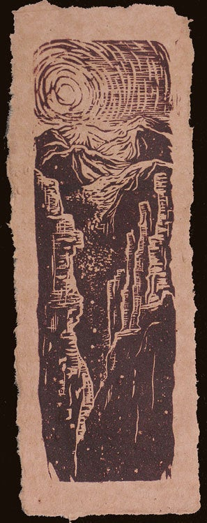 Original Woodcut Southwest Landscape Canyon Sunset on Handmade Rose Clay Paper