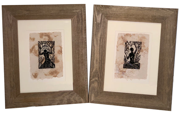 FRAMED 16X12 Matched Set of 2 Earth Nature Nordic Gods Woodcut Prints