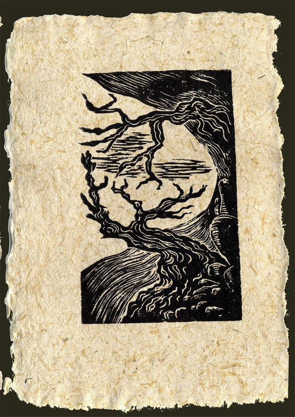 Woodcut Print Two Bristlecones on Cliff Cave Sierra Nevada Pine Trees on Handmade Paper