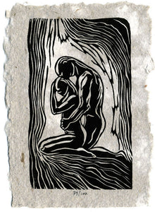 Always With You Original Woodcut Print on Handmade Paper Classic Partner Yoga Pose