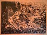 Original Woodcut Print Surreal Male Figure River Water Vessel