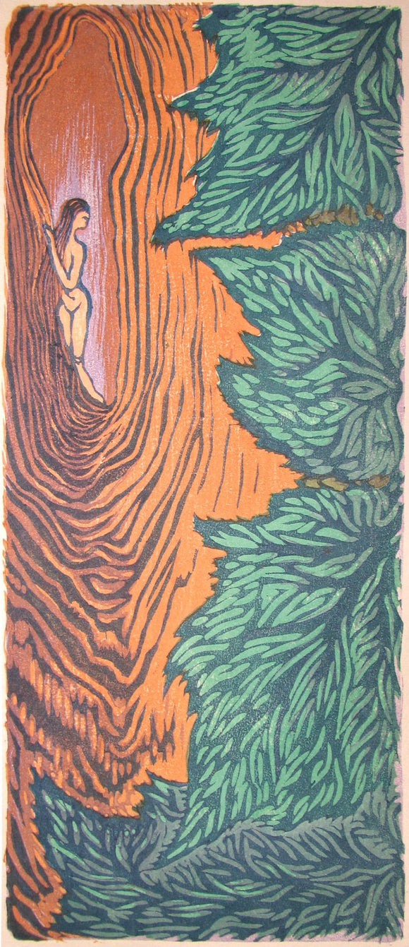 Natures Colors Original Japanese style Woodblock Print Woman Hiding in Tree Trunk With Leaves
