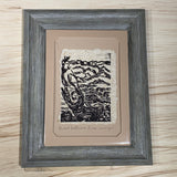 Lake Reflection Twisted Bristlecone 5x7 Original Woodcut Nature Print SET Art Gift MAT or FRAMED