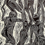 Original Wood Engraving Surreal Globe Human Figures Embracing World Peace Love