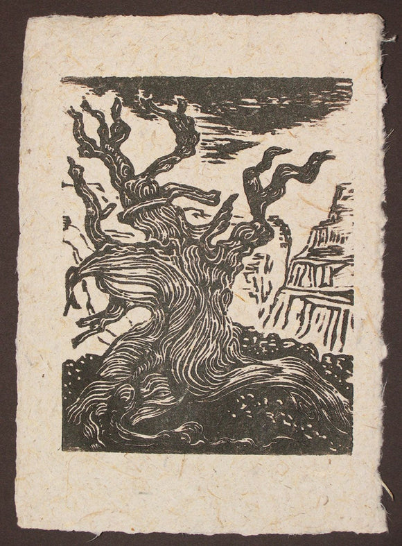 Original Woodcut Bristlecone Overlooking Canyon Desert Landscape on Fiber Paper