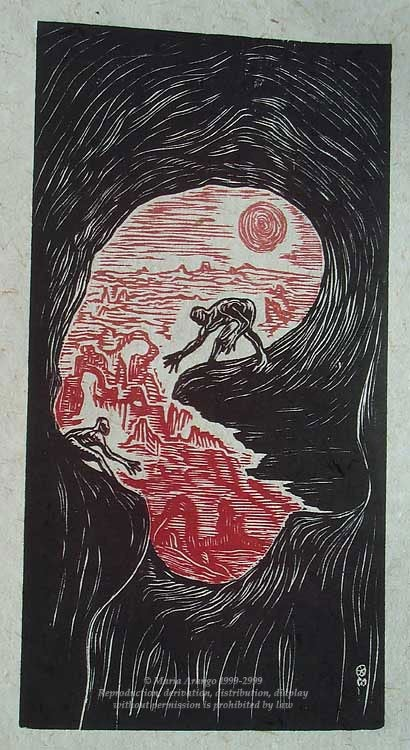 Original Woodcut Print Color Dreamcatchers Surreal Figures Landscape Red Sunset