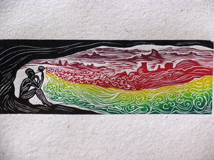 Flower Wizard Surreal Color Figure Woodcut on Hand Made Paper Flute Player