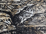 MATTED 16X12 Bad Water Grand Canyon Colorado River Landscape Original Woodcut