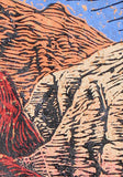 Canyons Fine Art Print They Let You In Woodcut Southwest Blue Sky Hiker Trail