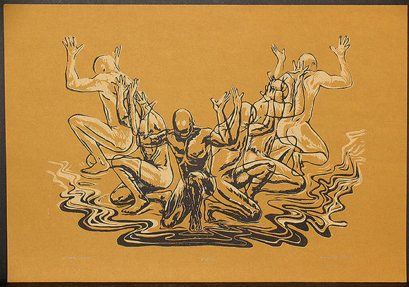 Woodcut Print Original Woodblock Earthtone Woodcut Surreal Figures Carved Men African Dance
