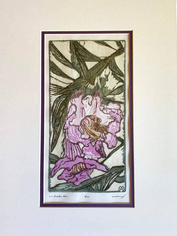MATTED Original Japanese Woodblock Print Color Flower Woman Drunken Bee Bloom