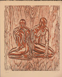 Original Woodcut Print Art LE Earthtone Woodblock Male Man Figures Classic Model Pose Fusion