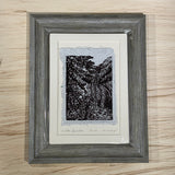 5x7 SET Original Woodcut Hidden Fountain Lace Waterfall Creek Art Gift MAT or FRAME