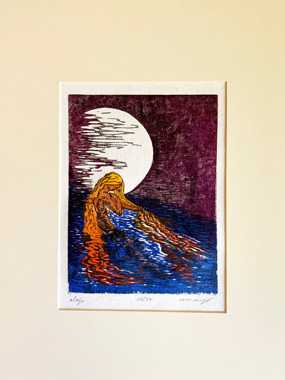 Matted 12x16 Original Woodcut Aloja Water Woman Lake In Moonlight Siren Night