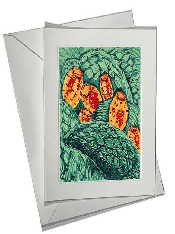 Ripe for Picking Color ART CARD Southwest Bright Prickly Pear Cactus Fruit