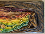 Flower Wizard Southwest Landscape Hand Carved Relief Original Woodblock Colored Satin Finish