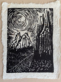 Original Woodcut Monument Valley Utah Temple of Sun and Moon on Varied Fiber Paper