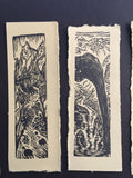 SET 4 Original Woodcut Prints Water in the Desert Landscape Collection
