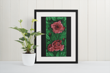 Garden Gifts Fine Art Print Floral Rose Flower Bright Color Green Red