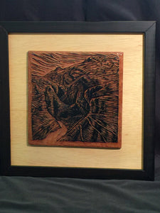 FRAMED Southwest Canyon They Let You In Original Block and Matted Woodcut Print Valley of Fire Red Rock Desert