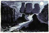 Moon Purple Black Lake Rocks Cliffs ART CARD Guardians of the Temple