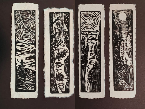 Hikers SET 4 Original Woodcut Prints Day in Nature Collection Black