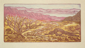 Color Woodblock Print Valley of Fire I Southwest Desert Lake Landscape