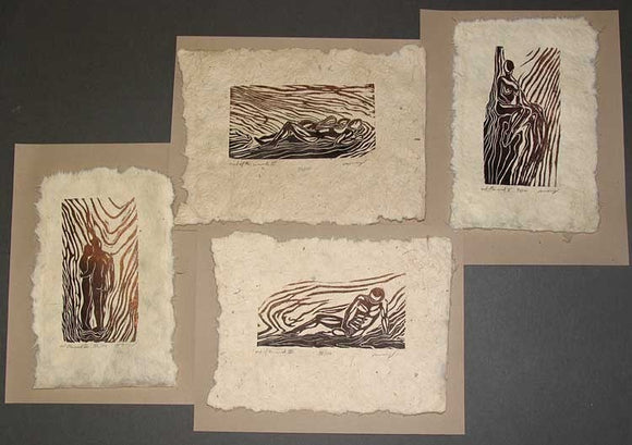4 Woodcuts Collectors Set Classic Figures Earthtone Handmade Paper Copper Umber