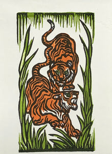 Year of the Tiger Chinese Lunar Watercolor Original Woodblock Print