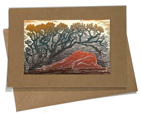 Green Gold Bajo la Sombra Shade Desert Yoga Pose Art Card