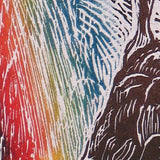 Original Color Woodcut Print Art Wizard Rainmaker Surreal Figure Storm Rainbow