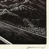 Original Earthtone Wood Engraving Out Early Southwest Desert Road