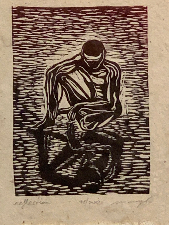 Woodcut Original Print Male Classic Model Pose Reflection The Thinker Red Sky