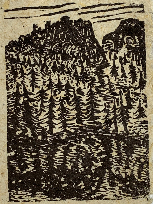 Navajo Lake Utah Landscape Original Woodcut Pine Tree Reflection