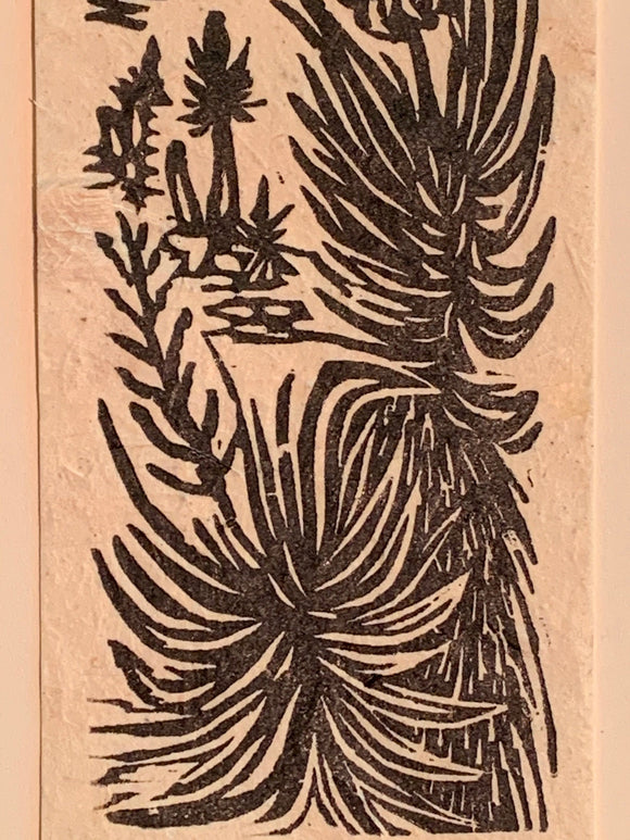 Mojave Yucca Spanish Bayonet Small Original Woodcut Desert Trees Landscapes