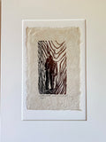MATTED 16x12 Together Hopeful Future In Love Original Woodcut Handmade Paper